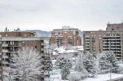 Expensive Condo buildings under snow Stock Photo