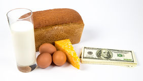 Expensive consumer basket and dollars Stock Images