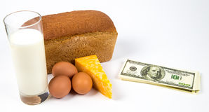 Expensive consumer basket and money Stock Images