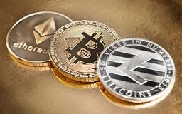 Expensive cryptocurrencies Royalty Free Stock Images