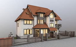 Expensive detached house. 3d ilustration of beautiful modern detached house in country style Stock Photo