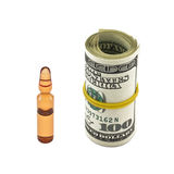 Expensive drug. Dollars and medicine in the vial isolated on white background Stock Photography