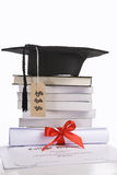 Expensive education. Concept of expensive education that diploma with tassel and price tag Royalty Free Stock Photography