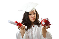 Expensive education concept with student Royalty Free Stock Image