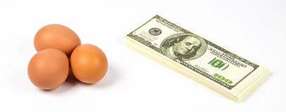 Expensive eggs and dollars Stock Photography