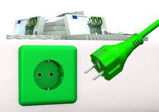 Expensive Energy. Green socket with green plug and euro banknotes. White background Royalty Free Stock Image