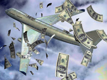 Expensive flight. Hundred dollars bank notes in the sky  ejected out of a plane  as it was losing money Royalty Free Stock Image