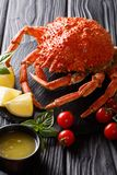 Expensive food: cooked whole crab spider with lemon and melted b. Utter close-up on the table. vertical stock images