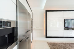 Expensive fridge in designed house Royalty Free Stock Photo