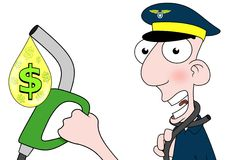 Expensive fuel for Aviation. Illustration of a pilot holding a fuel pump that is choking him Royalty Free Stock Photos