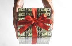 Expensive gift. Which is cover by 100 dollar Stock Photos