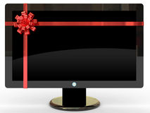 Expensive gift. Isolated high definition plasma TV on white background Royalty Free Stock Photos