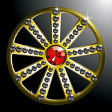 Expensive gold diamond wheel. Vector expensive gold diamond wheel isolated on black backgroung Stock Images
