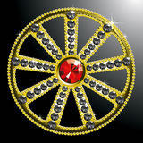 Expensive gold diamond wheel. Vector expensive gold diamond wheel isolated on black backgroung Stock Photo