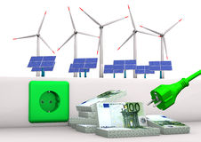 Expensive Green Energy. Green socket with green plug, euro banknotes, solar panels and wind towers. White background Royalty Free Stock Image