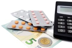 Expensive health care with pills,calculator,money Royalty Free Stock Photos