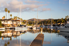 Expensive homes and boats ventura royalty free stock photos