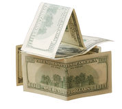 Expensive house. House made of hundred dollar notes Stock Images
