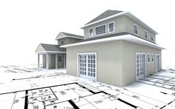 Expensive house on blueprints Royalty Free Stock Photos