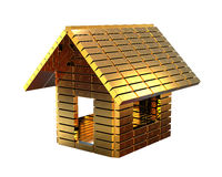 Expensive house concept. 3D render image representing a house made of gold bars. Expensive house concept vector illustration