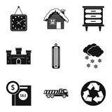 Expensive house icons set, simple style. Expensive house icons set. Simple set of 9 expensive house vector icons for web isolated on white background stock illustration