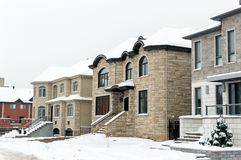 Expensive house in snow, Montreal. Canada Royalty Free Stock Photo