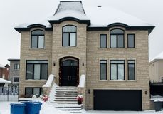 Expensive house in snow, Montreal Royalty Free Stock Images