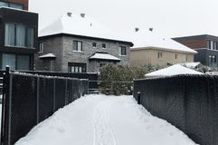 Expensive house in snow, Montreal. Canada Royalty Free Stock Image
