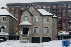 Expensive house in snow, Montreal. Canada Royalty Free Stock Photography