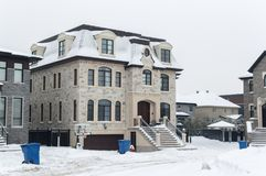 Expensive house in snow, Montreal. Canada Stock Images
