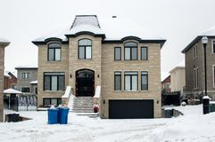 Expensive house in snow, Montreal. Canada Stock Image