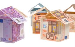 Expensive houses from euro banknotes Royalty Free Stock Photography
