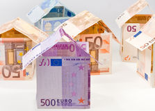 Expensive houses from euro banknotes Stock Photography