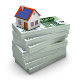 Expensive Hypothec. A house with solar panels on the hundred euro notes. White background Royalty Free Stock Photo