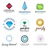 Expensive jewelry. Diamonds of different shapes and colors. Magic shining stones. A set of diamonds royalty free illustration