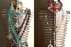 Expensive jewelry. Expensive jewelry on steel mannequins Stock Photos