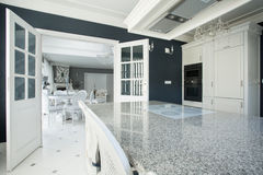 Expensive kitchen with marble worktop Stock Photo
