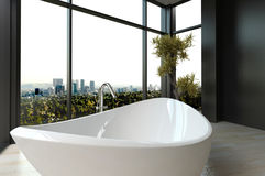 Expensive luxury bathtub against panoramic window with cityscape view. A 3d rendering of an expensive luxury bathtub against panoramic window with cityscape view stock illustration