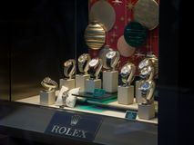 Expensive Luxury Rolex watches on display in a store window in London royalty free stock photos
