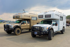 expensive off-road motor-homes at whitehorse Stock Photo