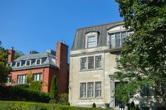Expensive old house with huge windows. In Montreal downtown, Canada Royalty Free Stock Photos