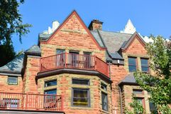 Expensive old houses with huge windows. In Montreal downtown, Canada Stock Photography