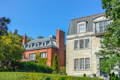 Expensive old houses with huge windows. In Montreal downtown, Canada Royalty Free Stock Images