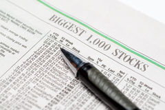 An expensive pen on a stock section of The Wall Street Journalfor editorial use only Stock Photography