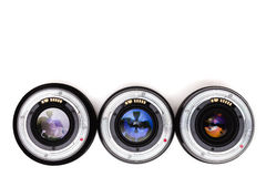 Expensive photographic lenses. The dream of every professional photographer Stock Images