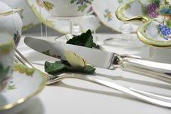 Expensive porcelain dinner set Stock Photo