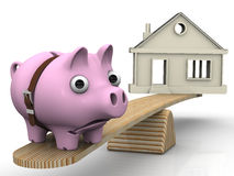 Expensive real estate. Financial concept. Sad pig piggy bank, overtighten a belt, weighed on the scales with a symbolic house. Financial concept of expensive vector illustration