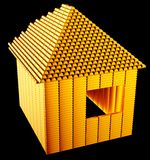 Expensive realty:: gold bars house shape. Over black Stock Image