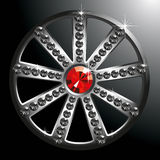 Expensive silver diamond wheel. Vector expensive silver diamond wheel isolated on black backgroung stock illustration