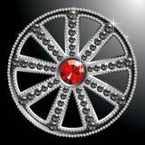 Expensive silver diamond wheel. Vector expensive silver diamond wheel isolated on black backgroung Royalty Free Stock Photography